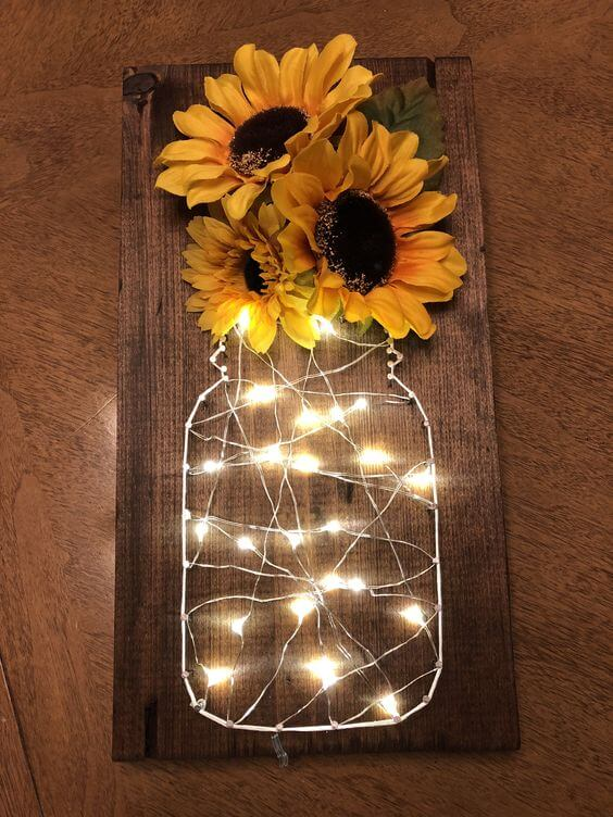 Sunflower fairy light string art | Best Fairy Light Decoration Ideas