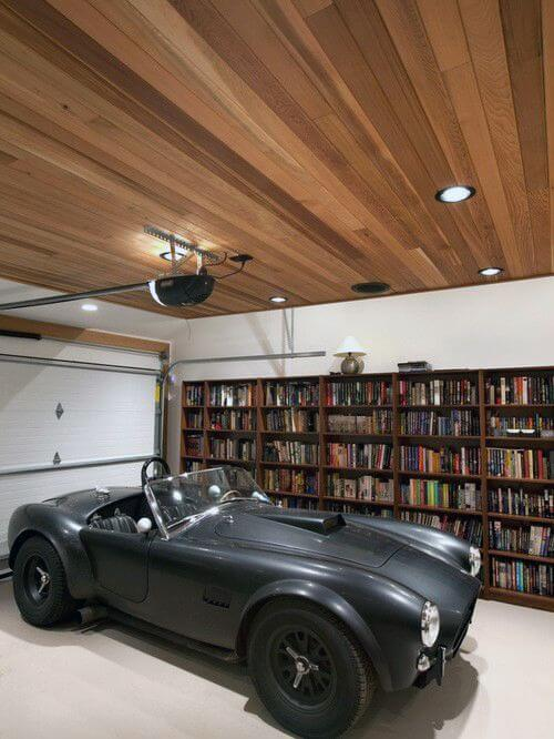 Led Lights For Garage With Wood Panel Ceiling Design | Best Garage Lighting Designs & Ideas