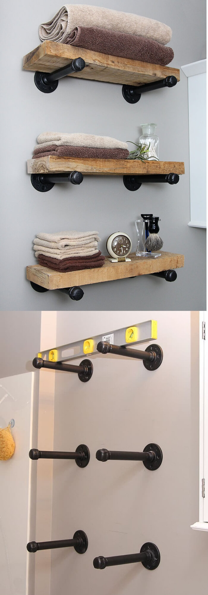 Pipe and wood shelves | Best Over the Toilet Storage Ideas for Bathroom