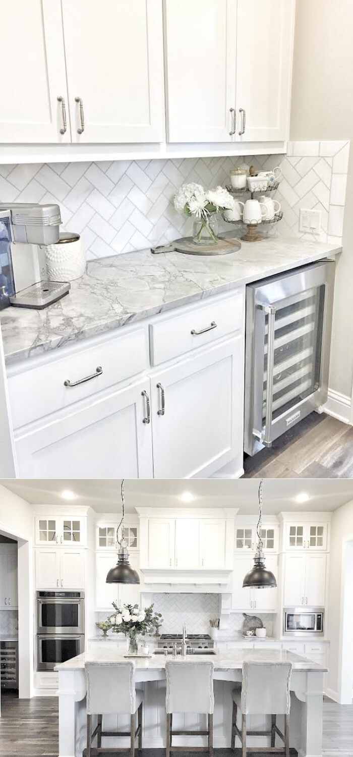 Butlers pantry with herringbone backsplash tile | Best White Kitchen Cabinet Decor Ideas
