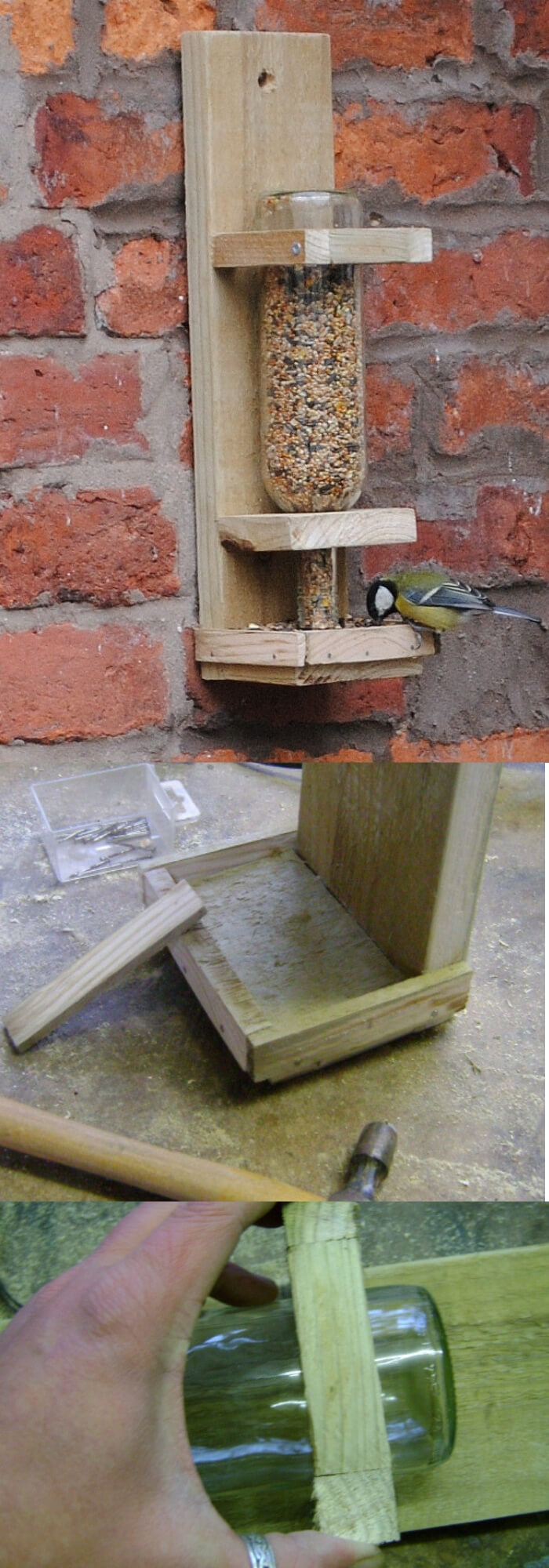 Making Wine Bottle Bird Feeder