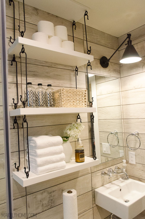 Vintage Wood Shelves | Best Over the Toilet Storage Ideas for Bathroom