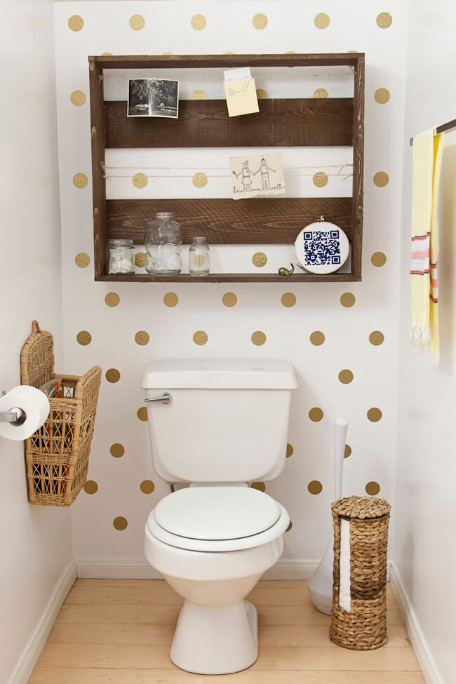 Crate Wall Shelf with Polka Dots | Best Over the Toilet Storage Ideas for Bathroom