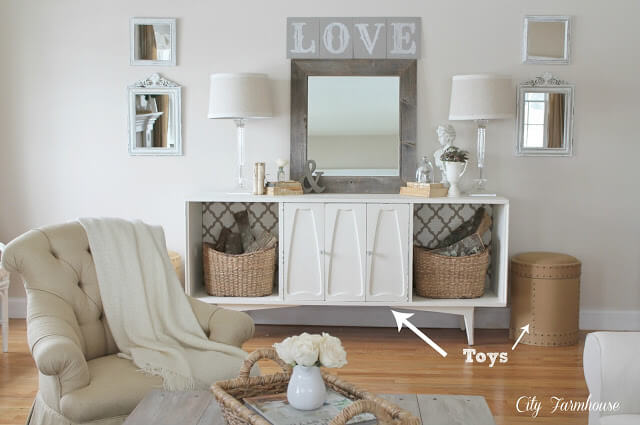 Wooden Love Sign and Mirror | Best Farmhouse Living Room Decor & Design Ideas