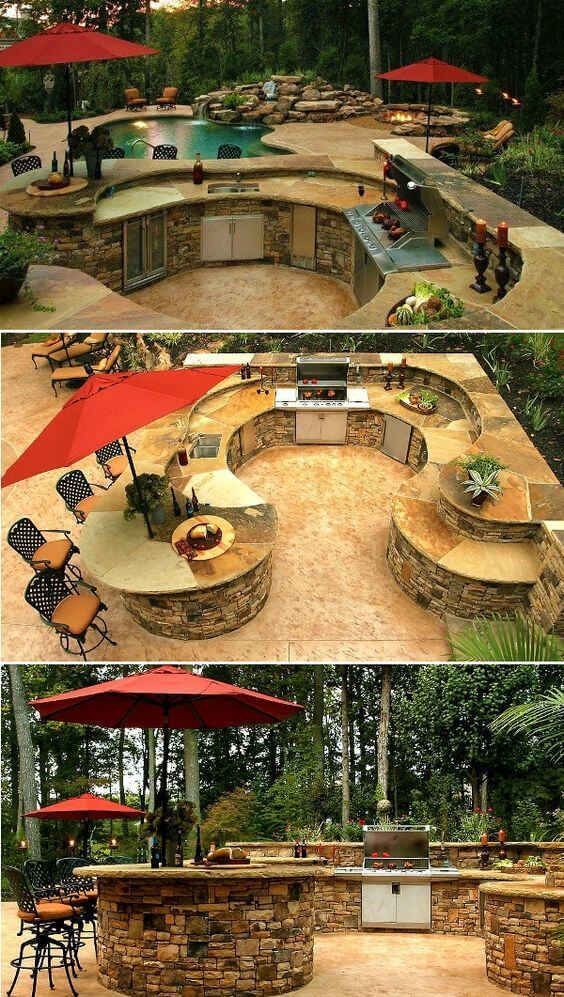 Asummer kitchen built entirely of stone | DIY Outdoor Kitchen Ideas (Cheap, Simple, Modern, and Country)