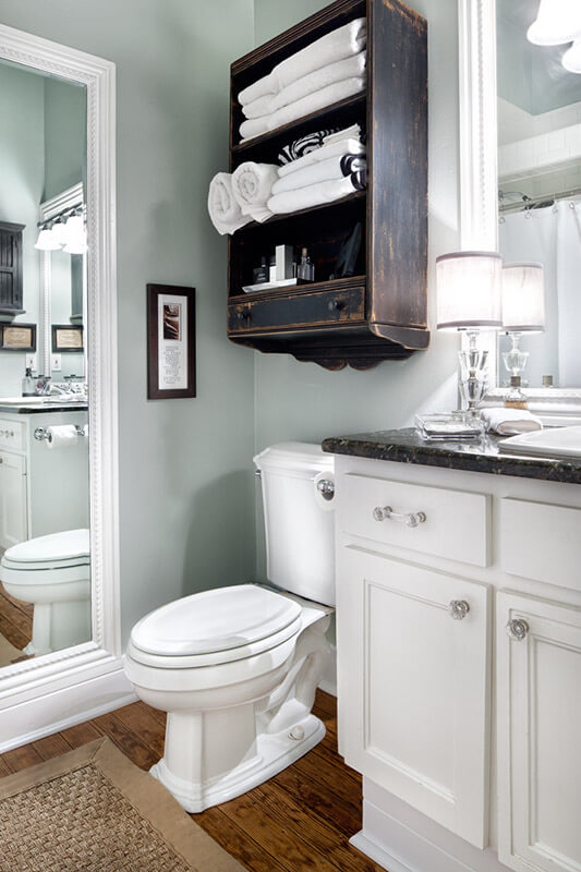 Dark brown cabinet | Best Over the Toilet Storage Ideas for Bathroom