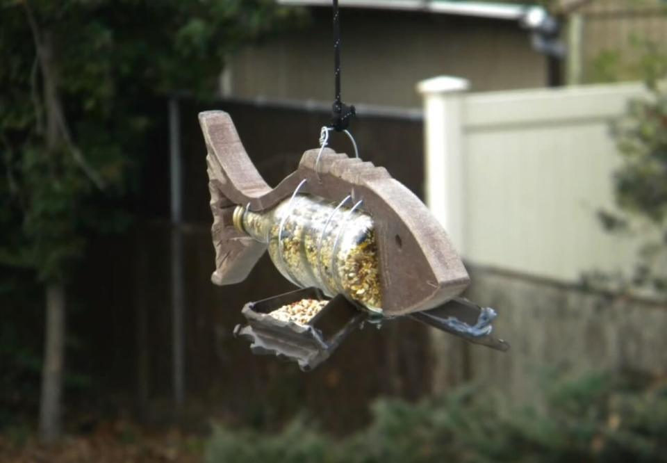 Fish Shaped Wine Bottle Bird Feeder
