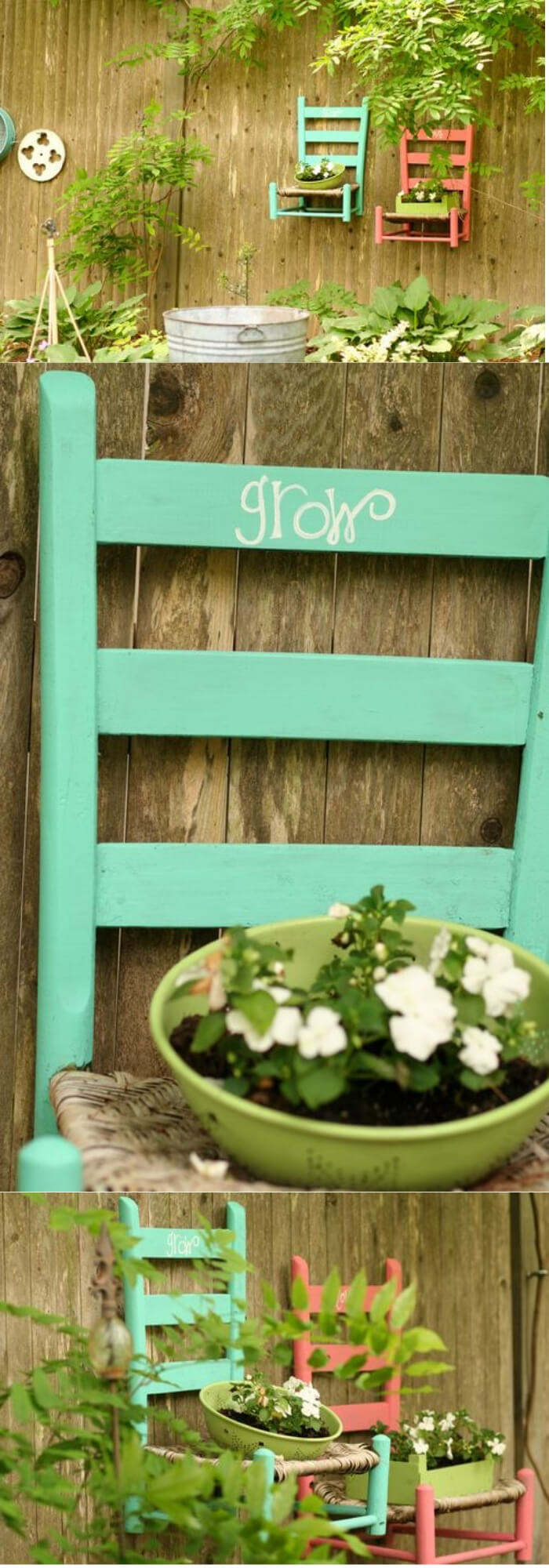 Hanging Chair Planter | Creative Upcycled DIY Chair Planter Ideas For Your Garden