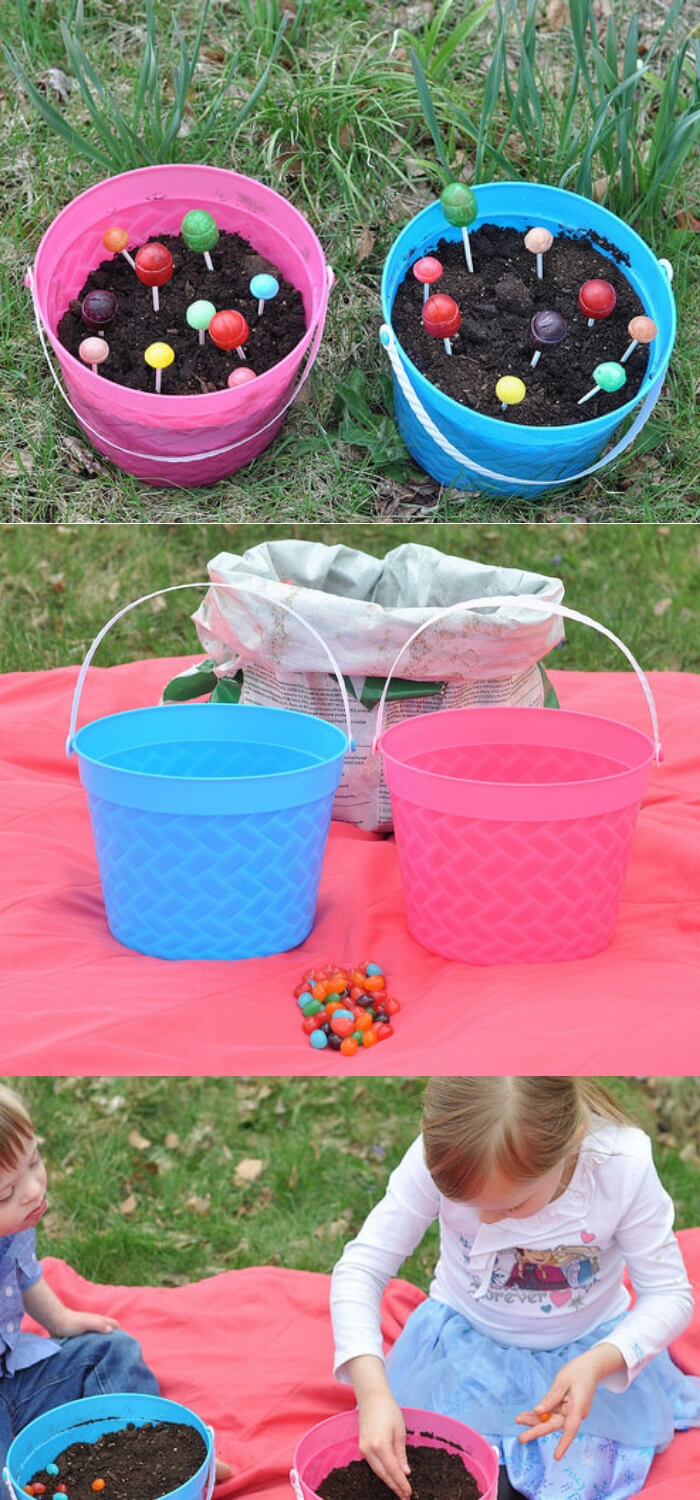 Planting a Lollipop Garden | Creative Easter Garden Projects & Ideas Your Kids Will Love