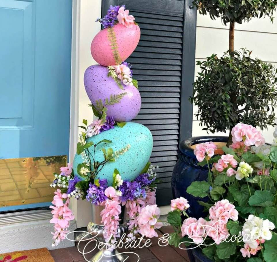 Easter Egg Topiary | Best Easter Porch Decorating Ideas