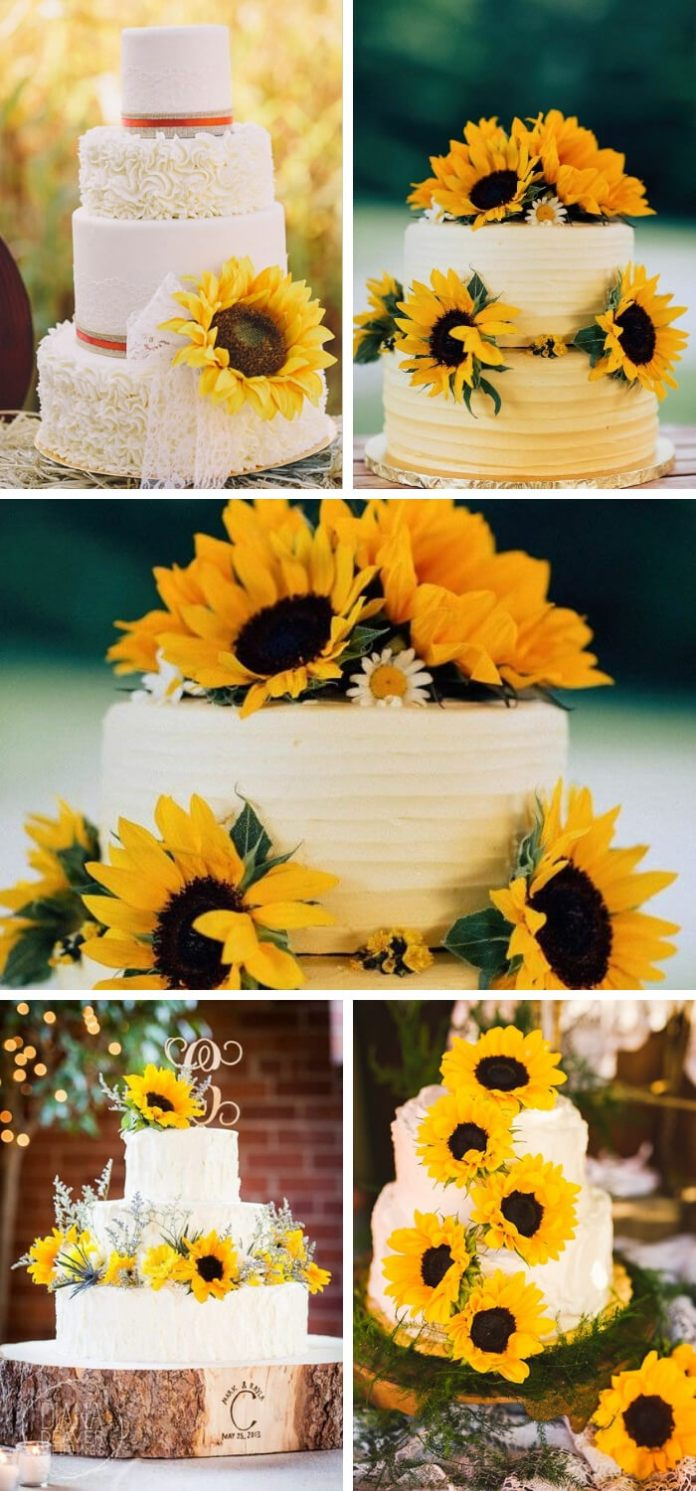 Sunflower Wedding Cake | Creative & Rustic Backyard Wedding Ideas For Summer & Fall