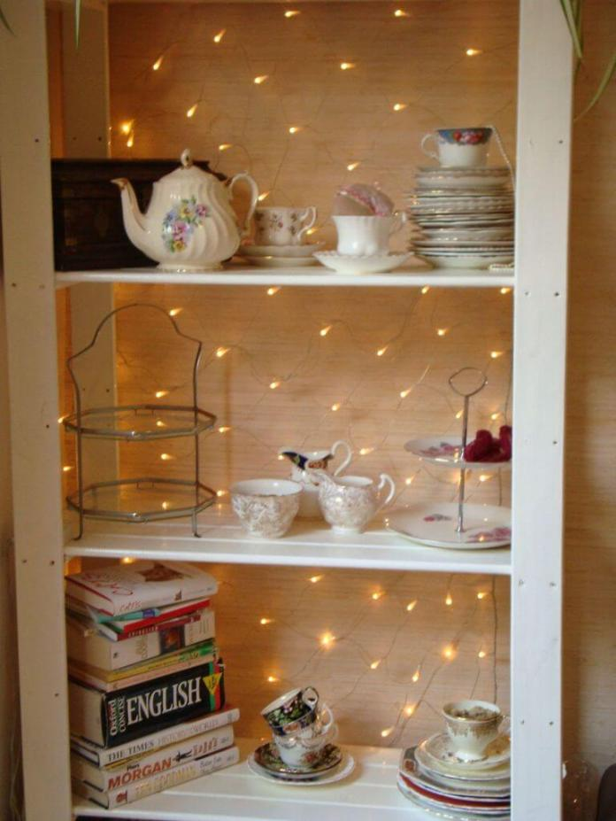 Add light to Shelf | Best Fairy Light Decoration Ideas