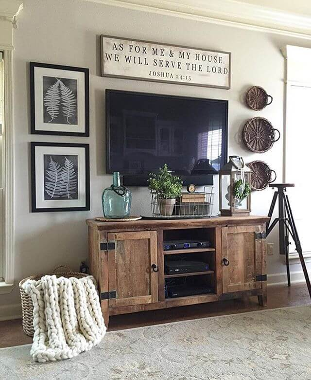 Wooden Cabinet | Best Farmhouse Living Room Decor & Design Ideas