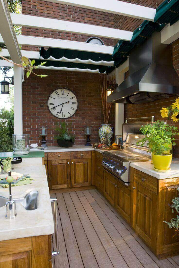 Wood Kitchen With Canopy | DIY Outdoor Kitchen Ideas (Cheap, Simple, Modern, and Country)