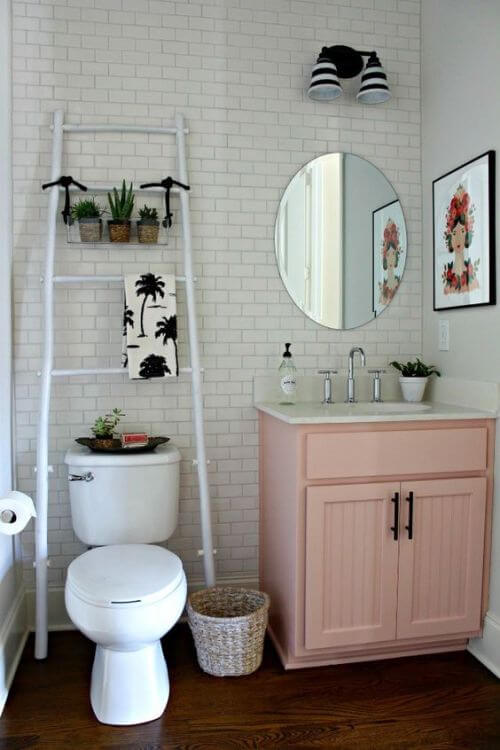 Ladder for hanging towels | Best Over the Toilet Storage Ideas for Bathroom