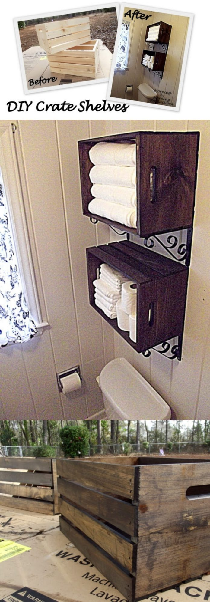 DIY Crate Bathroom Shelf | Best DIY Wood Crate Projects & Ideas