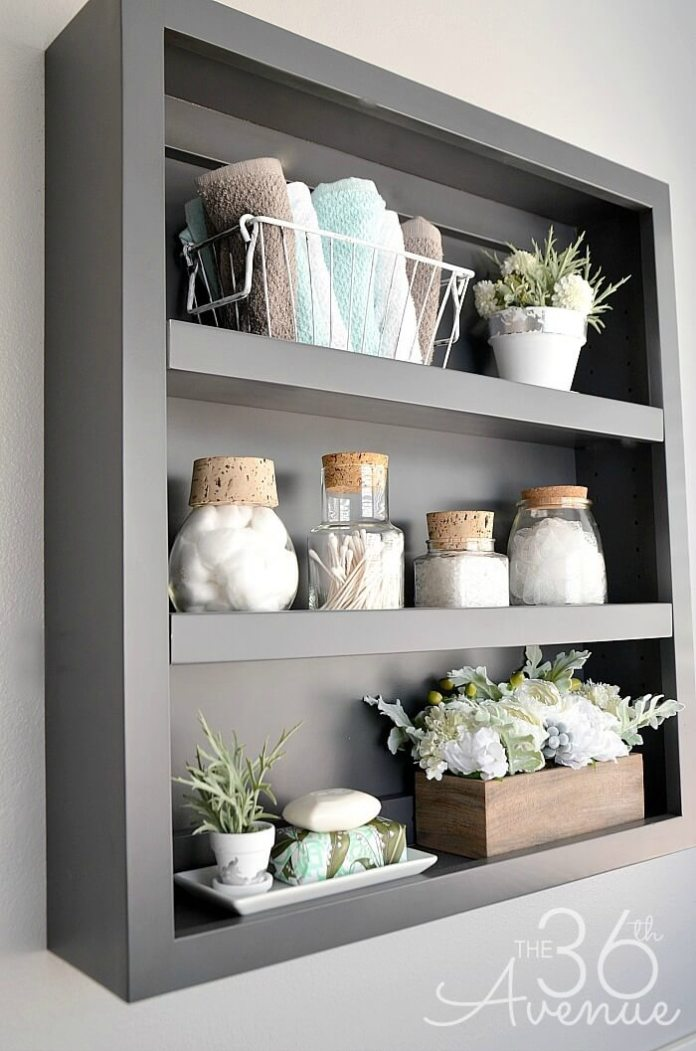 Shadow box organizer | Best Over the Toilet Storage Ideas for Bathroom