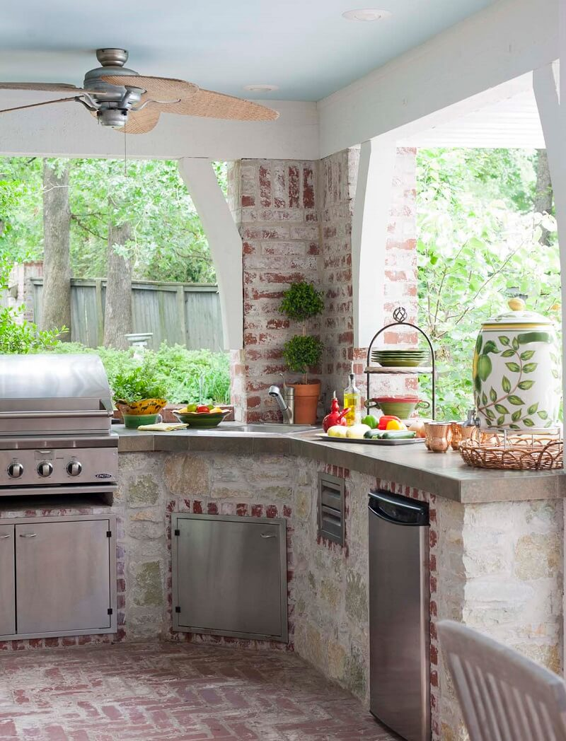 Modern appliances in the kitchen, stylized antique | DIY Outdoor Kitchen Ideas (Cheap, Simple, Modern, and Country)