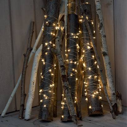 Creating a fire effect with fairy lights around branches/logs | Best Fairy Light Decoration Ideas