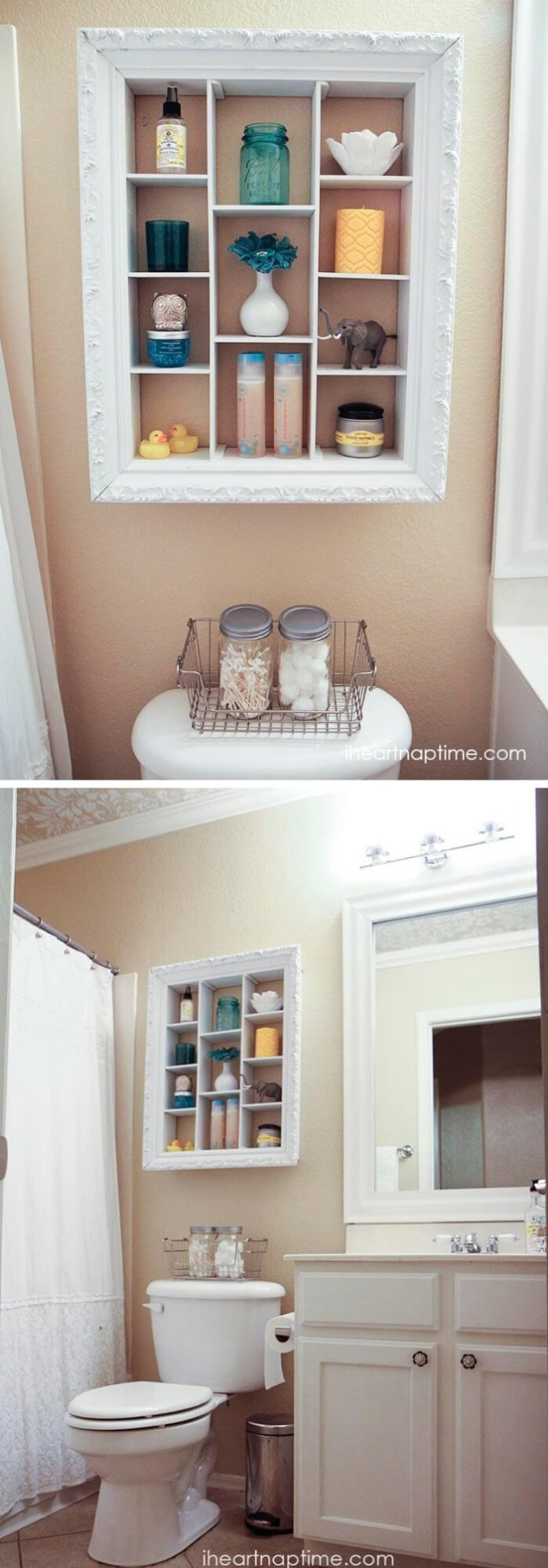 Storage Shelf Makeover | Best Over the Toilet Storage Ideas for Bathroom