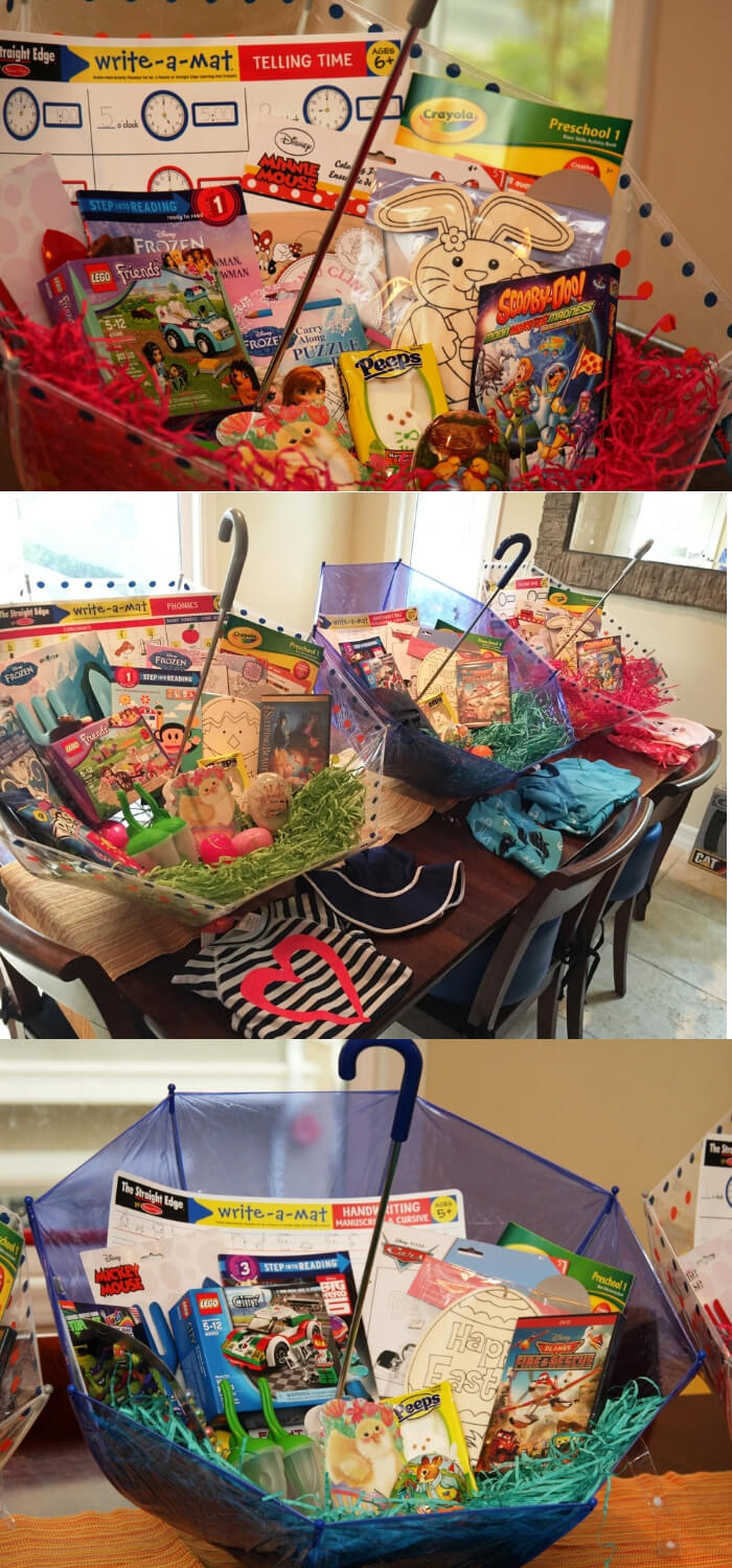 Umbrella Easter Baskets (non candy centered, allergy friendly) | Fun & Creative Easter Basket Ideas