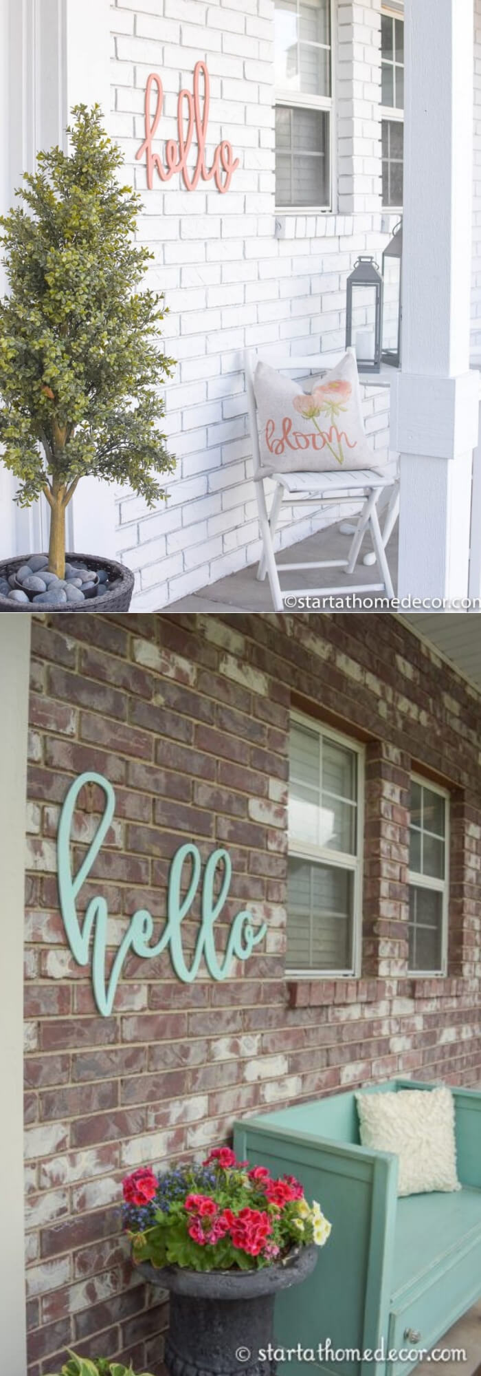 The wall with hello sign | Best Outdoor Wall Decor Ideas