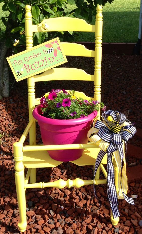 Ladderback chair | Creative Upcycled DIY Chair Planter Ideas For Your Garden