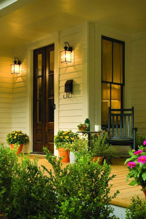 Welcoming front porch   Trending & Vintage Porch Lighting Ideas & Designs   FarmFoodFamily.com