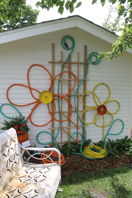Flowers made from garden hose | Best DIY Repurposed Garden Tools Ideas | Garden Craft Ideas