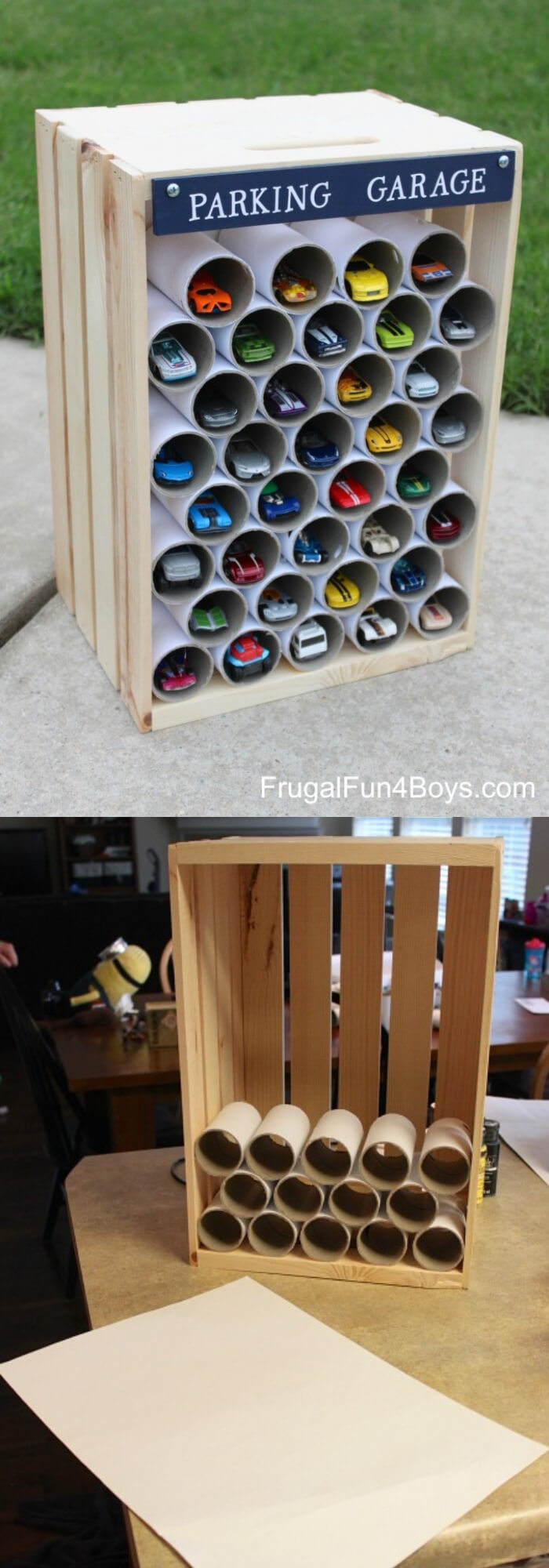 Wooden crate parking garage | Best DIY Wood Crate Projects & Ideas