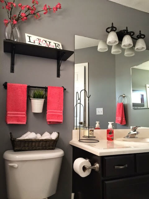 Creative Shelves with love sign and hanging planter | Best Over the Toilet Storage Ideas for Bathroom