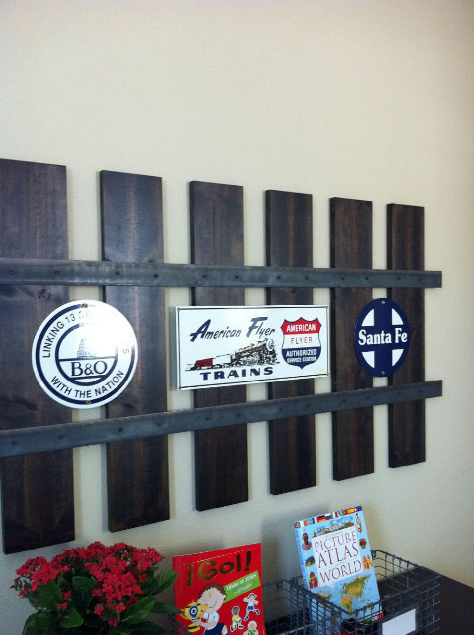 Railroad track wall frame | How to Decorate a Train Theme Bedroom: Design a Little Boy's Railroad Theme Room or Nursery