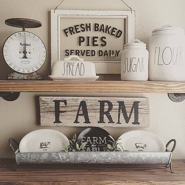 DIY industrial-inspired shelving | Inspiring Farmhouse Kitchen Design & Decor Ideas
