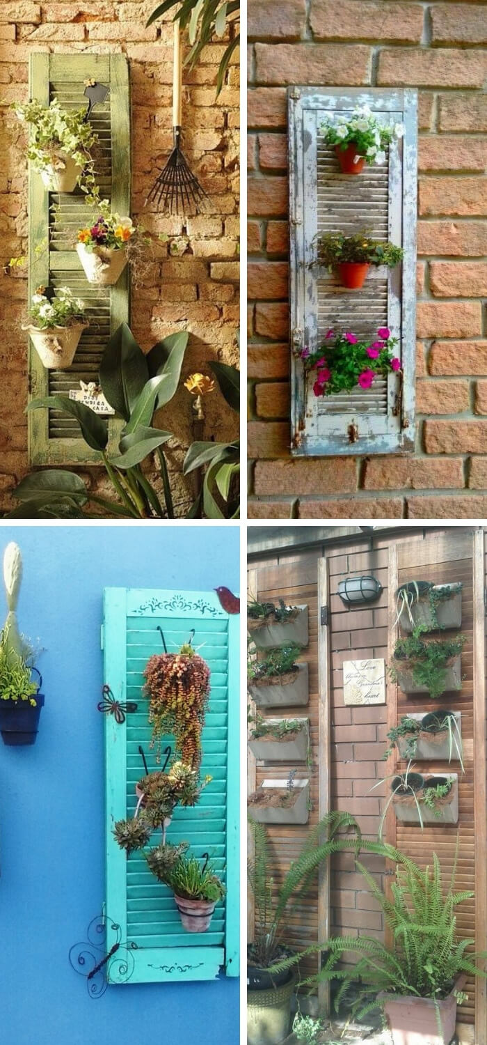 DIY Ideas To Upgrade Your Garden: Hang potted plants with a DIY shutter