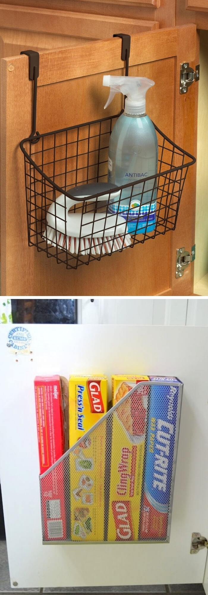A basket that hooks over your cabinet door