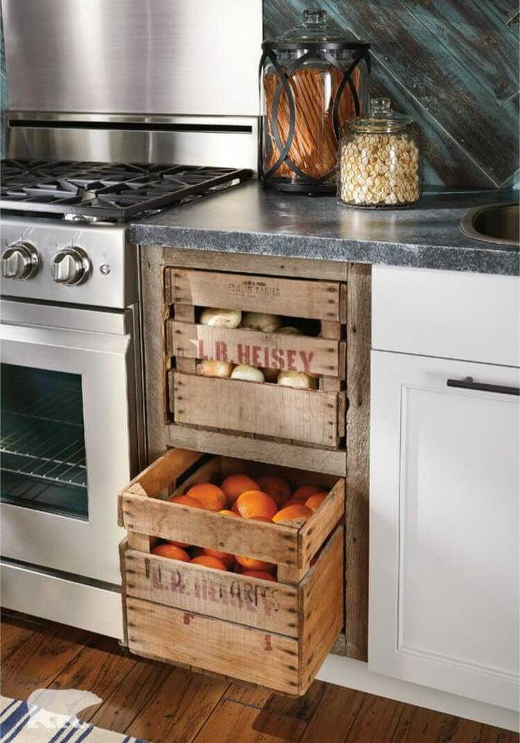 Wooden boxes for fruits and vegetables | Inspiring Farmhouse Kitchen Design & Decor Ideas