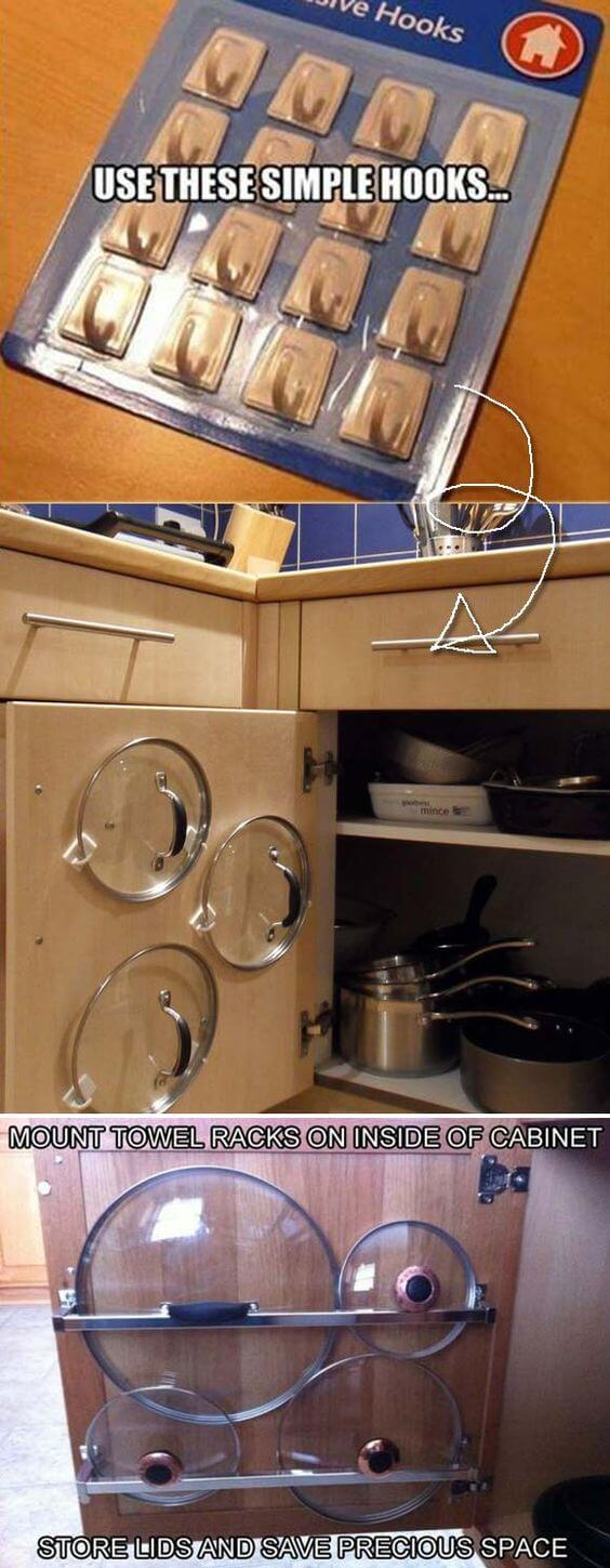 Use Adhesive Hooks to Store pots, pans on Cabinet Doors