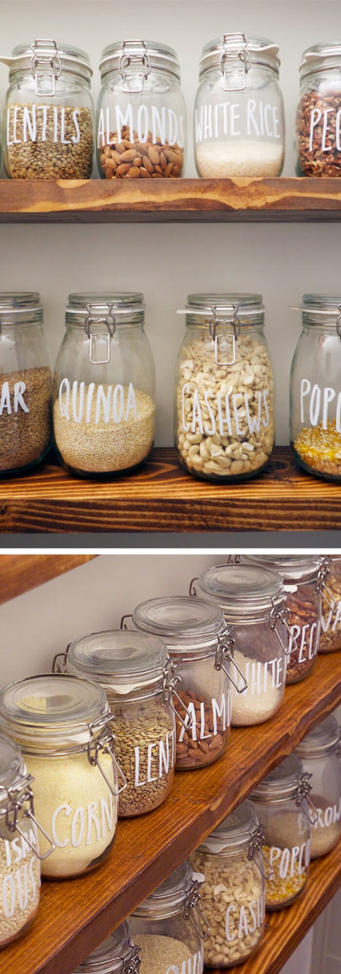 Storage dry goods with mason jars | Inspiring Farmhouse Kitchen Design & Decor Ideas