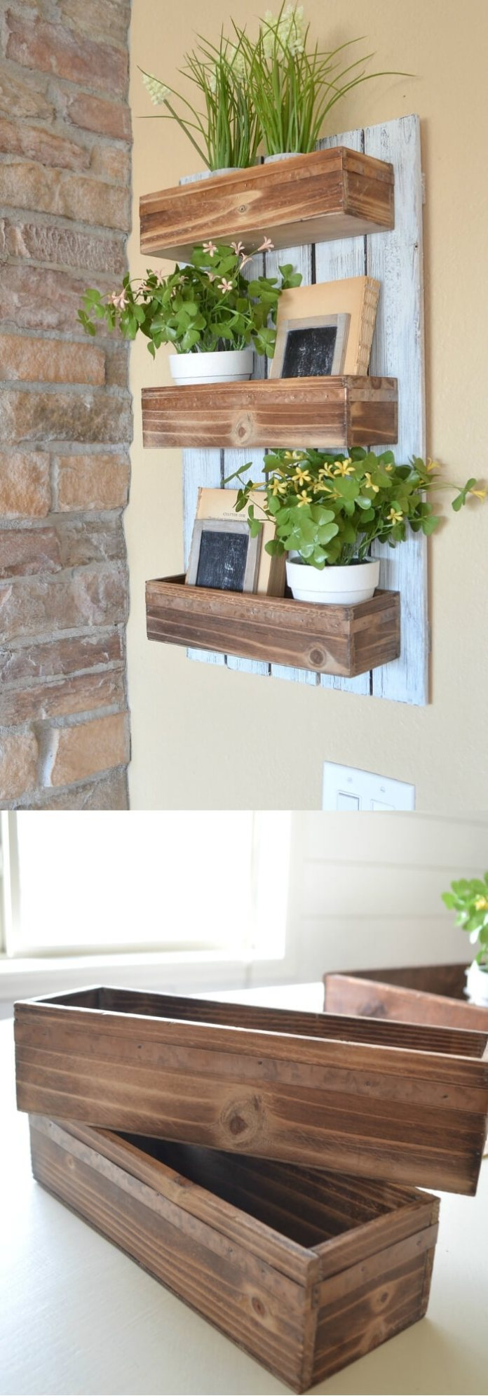 DIY wooden wall planter | Best Farmhouse Indoor Plant Decor Ideas & Designs