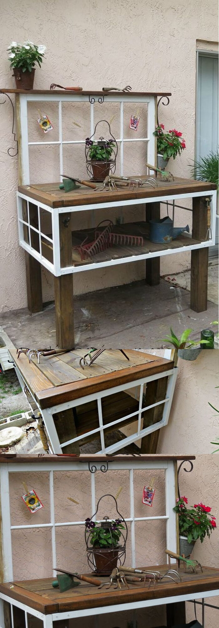 Vintage Tool Potting Bench from old window frame | Creative DIY Outdoor Window Decor Ideas