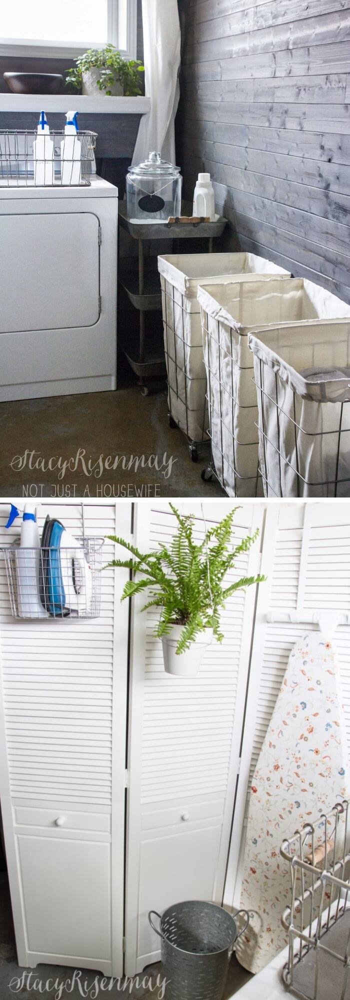 DIY Farmhouse Laundry Room Ideas: Solving problem in laundry room with rolling laundry cart