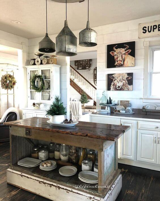 Farmhouse Lighting Designs & Ideas: Farmhouse Pendant Lights With Galvanized metal