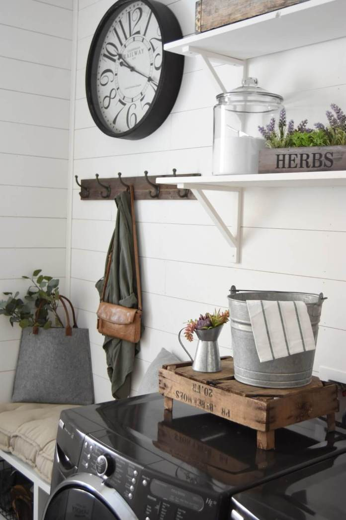 DIY Farmhouse Laundry Room Ideas: Shiplap Laundry Room