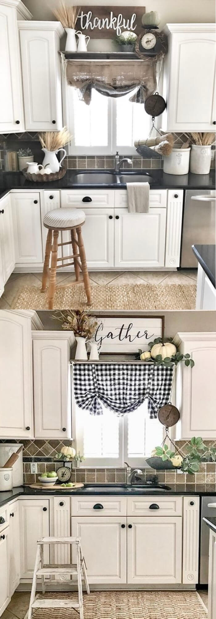 Charming Curtain with wooden sign | Inspiring Farmhouse Kitchen Design & Decor Ideas