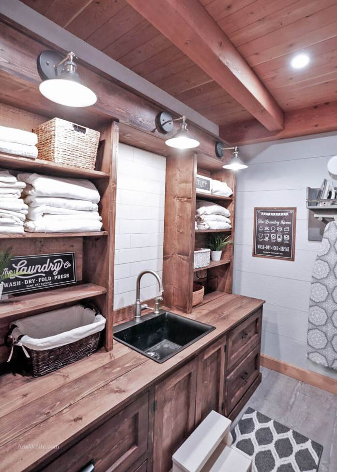 DIY Farmhouse Laundry Room Ideas: Laundry Room Cabinet with Hutch