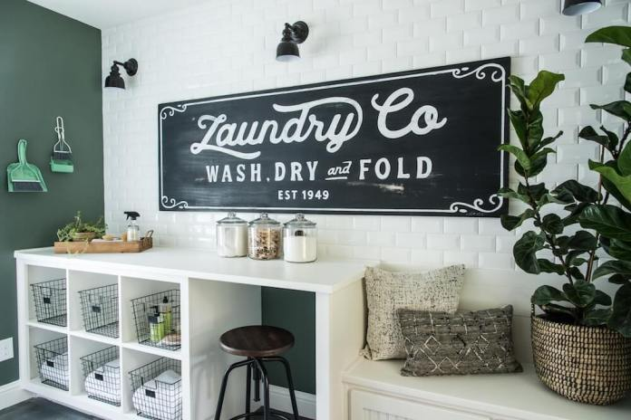 DIY Farmhouse Laundry Room Ideas: Add a painted laundry room mural on the wall