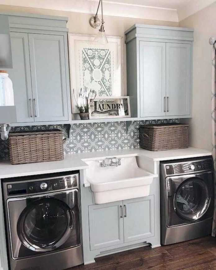 DIY Farmhouse Laundry Room Ideas: Self-service Laundry printed mirror