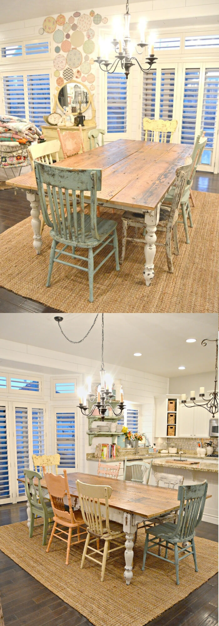 Farm style table w/mismatched chairs | Stunning Farmhouse Dining Room Design & Decor Ideas
