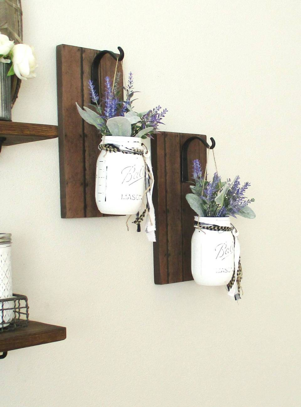 Rustic Hanging Mason Jar Sconce | Inspiring Farmhouse Kitchen Design & Decor Ideas