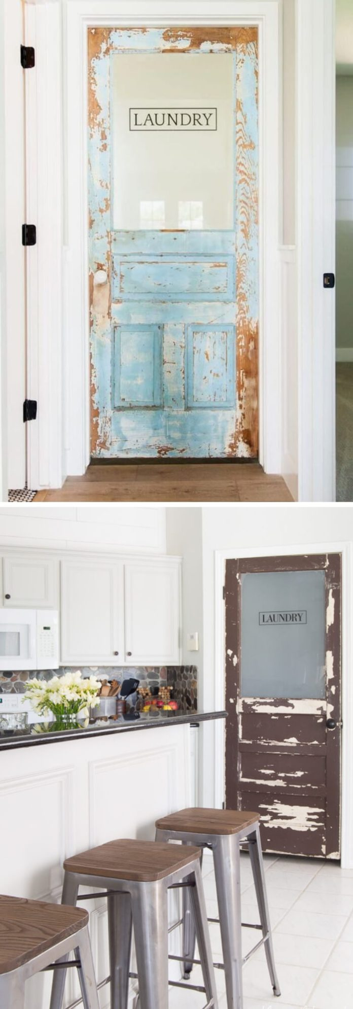 DIY Farmhouse Laundry Room Ideas: Rustic laundry door update